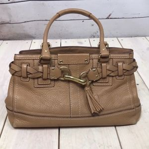 Coach Braided Hamptons Pebbled Leather Satchel